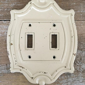 Light Switch Cover Double Lightswitch Plate Mid Century Metal Light Switch Cover Farmhouse Chic Light Switch Plate Home Improvement