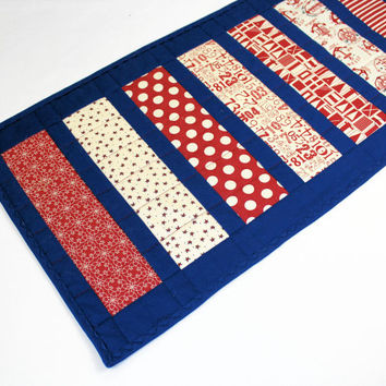 Long Nautical Table Runner Quilt in Red, White and Blue Strips, Moda Boat House Fabrics, Patriotic Quilted Table Runner