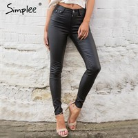High Waisted Leather Capris Pants
