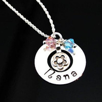 Nana Grandma Disk Washer Name Hand Stamped Sterling Silver Necklace with Grandchildren's Birthstones