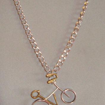 Unisex Handmade Bicycle Necklace In Sterling Silver and Brass - Statement Necklace