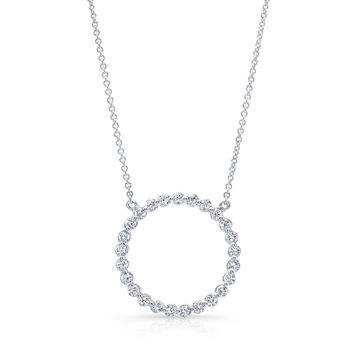 "18kt white gold diamond circle pendant 0.80 ctw G color VS2 clarity diamonds with 16"" white gold chain"