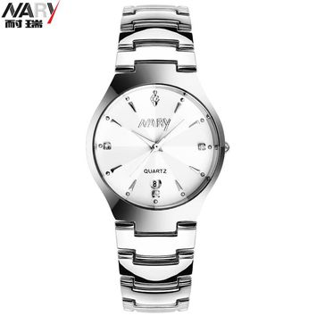NARY Men women couple watches Male&Female quartz watches Lovers Tungsten steel watch Calendar fashion Dress Lover' wristwatches