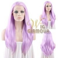 "Long Straight 24"" Light Purple Lace Front Wig Heat Resistant"