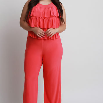 Plus Size Tiered Ruffle Jumpsuit | UrbanOG