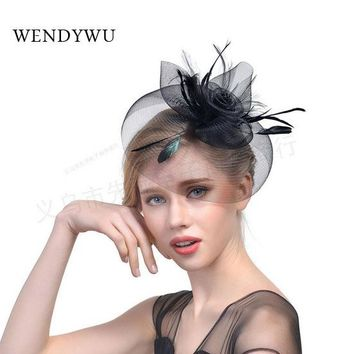 2017 New indian feather headdress Net yarn feather headdress bride net yarn hairpin hat hat dance