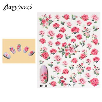 1 Piece Nail Art Sticker Pink Rose Flower Pattern Design Polish Decal Manicure Tips Tool Nail Sticker DIY Sexy Product New DP105
