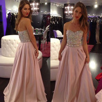 Homecoming Dress,Strapless Beadings Sweetheart Long Prom Dress
