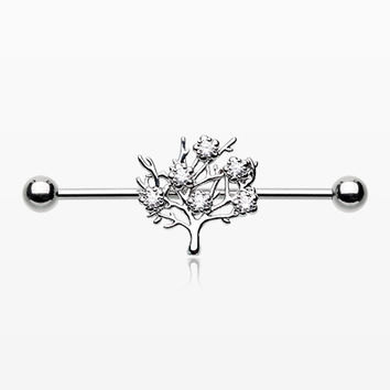 Tree of Life Sparkle Industrial Barbell