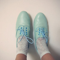 Pastels colors oxfords flats by goldenponies on Etsy