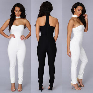 New Arrival Woman 80's Retro Black/White Strapless Choker Neck Jumpsuit Night Club Wear Sleeveless Rompers