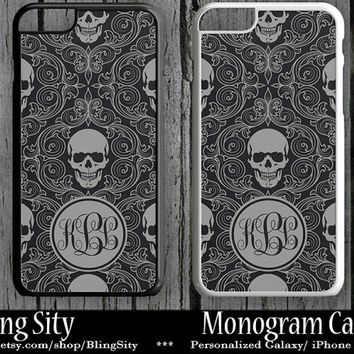 Monogram Sugar Skull Damask iPhone 5C 6 Plus Case iPhone 5s Case Ipod 4 5 Tough Case Custom Personalized Goth
