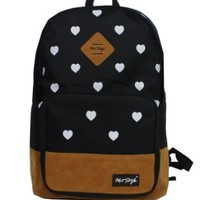 Wingeler Fashion Heart Unisex Canvas Shoulder Bag Handbag School Backpack-A5