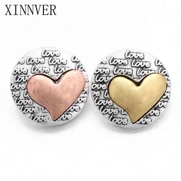 10Pcs/lot Hot Seal Love Heart metal snap button for charms bracelet Fit DIY Snap Jewelry For Women ZA579