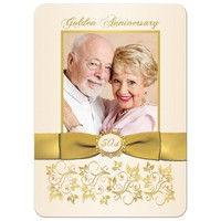 50th Wedding Anniversary Invitation | Ivory and Gold Floral | PRINTED BOW | PHOTO