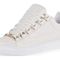 Balenciaga Crinkled Leather Lace-Up Sneaker Ivory 42