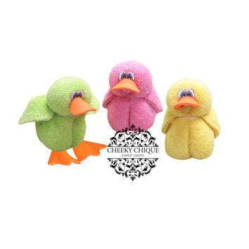 Baby Washcloth Duck, Diaper cake, Easter, Chicks, Basket, Stocking, Stuffer, Rubber Ducky, Centerpiece, Decoration, Baby Shower Favors