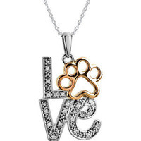 """Sterling Silver Tender Voices .05 ct tw Diamond Love Animal Paw Print 18"""""""