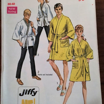"Vintage Simplicity Sewing Pattern 8256 for ""Misses and Mens Jiffy Kimono in Two Lenghts"" From 1969 / Medium 38 - 40"