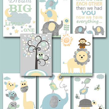 Baby Shower Gift Elephant Nursery Quotes Kids Wall Art Kids Art Baby Boy Nursery Art Baby Room Decor set of 8 8x10 Gray Blue Yellow Mint