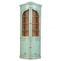Duck Egg Blue Glazed Corner Cupboard - Display Cabinets - Living Room