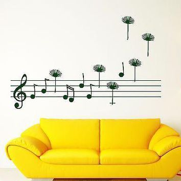 Wall Sticker Stave Score Notes Treble Clef Fly Vinyl Decal Unique Gift (n340)