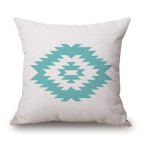 Deep Mint Aztec Linen Throw Pillow