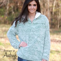 Sage Green Sherpa Pullover with White Collar