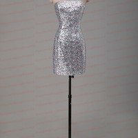 Strapsless short Prom Dress Open back Evening Dress Sparkle Sequins Party Dress Bridesmaid Dress Homecoming Dress Formal dress