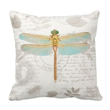 Large Dragonfly, vintage scrapbook pillow
