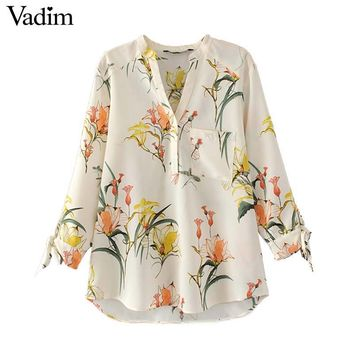 Women Elegant V Neck Floral Shirts Sweet Bow Tie Long Sleeve Pocket Blouse Ladies Fashion Casual Tops