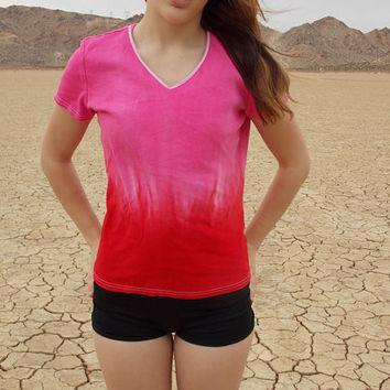 Hand-Dyed Red and Hot Pink Ombre V-Neck Women's Tee Shirt