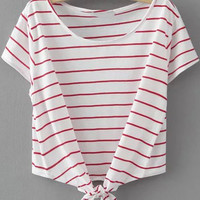 White and Red Short Sleeve Striped Lace Up Shirt