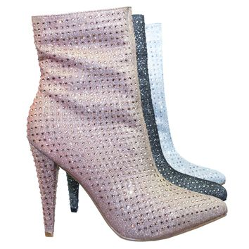 Magnolia09 Rhinestone Crystal Embellished High Heel Ankle Bootie In Mesh Glitter