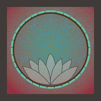 Manda Lotus Circle Teal Print 12 X 12 Bohemian Artwork High Quality Print Framed With Wood Free Shipping