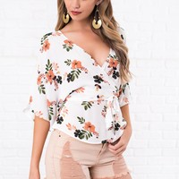 Aden Floral Surplice Top (White)
