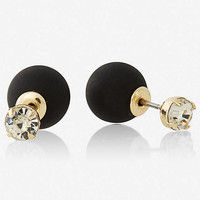 RHINESTONE FRONT AND BALL BACK POST EARRINGS from EXPRESS
