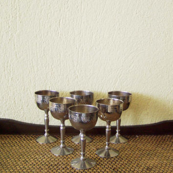 Vintage metal goblets, silver plated liqueur goblets, brass, silver plated goblets, rustic barware and decor, set of six, early sixties