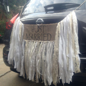 Rustic Wedding Just Married sign BURLAP BANNER by FAITHandLACE