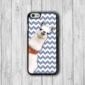 Funny Alpaca Chevron Blue iPhone Cases, Animal Cartoon Art iPhone 6 Cover, iPhone 6 Plus, iPhone 5 Hard Case, Rubber Deco Accessories Gift