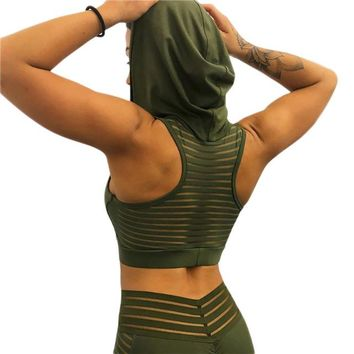 Running Vests Jogging Ms. Sexy Hooded Sports Vest Back Mesh Running Yoga Vest Women Fitness Gym Sportwear Breathable Workout Clothing Mujer Yoga Top KO_11_1