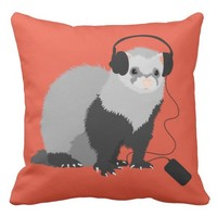 Funny Music Lover Ferret Outdoor Pillow