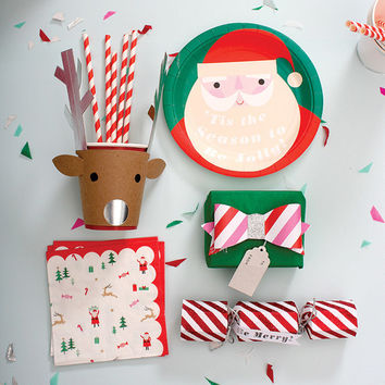 Be Jolly Reindeer Party Cups by Meri Meri - Modern Chic Party Rudolph Theme Red Kraft Paper Antlers Silver Foil Kids Childrens Santa