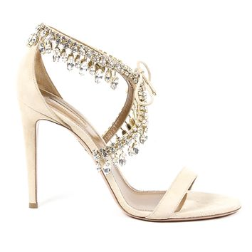 Aquazzura Firenze Womens Sandal MILLA JEWEL 105 NUDE