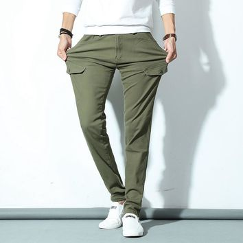 Army Green Men's Skinny Denim Jeans Solid Pencil Pants Men Elastic Long Jeans New Fashion Male Slim Casual Jeans Cowboy Trousers
