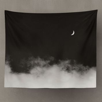 Black and White Ombre Night Sky with Crescent Moon and Clouds Tapestry