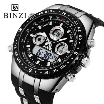 BINZI Mens Watches Top Brand Luxury Digital Male Sport Watch Waterproof Men Dual Display Wrist Watches Clock Relogio Masculino