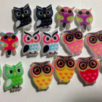 16 pc 8 pairs of OWL NAIL EMBELLISHMENT variety pack Super Cute