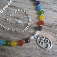 7 Chakra Om Necklace, Rainbow Chakra Necklace, Beaded Necklace, Gemstone Jewelry,  Minimalist Necklace, 16 - 18 inch, LGBT, READY To SHIP