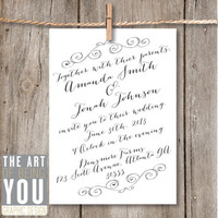 Printable Wedding Invitation Rustic Elegance / by TheArtOfBeingYou